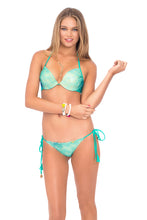 SIETE MARES - Seamless Plunge Underwire Push Up Top & Wavey Ruched Back Full Tie Side Bottom • Multicolor (874147381292)