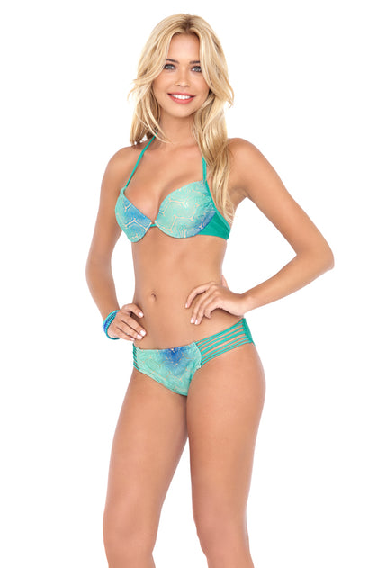 SIETE MARES - Seamless Plunge Underwire Push Up Top & Braided Side Full Bottom • Multicolor