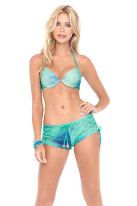 SIETE MARES - Seamless Plunge Underwire Push Up Top & Crochet Drawstring Shorts • Multicolor