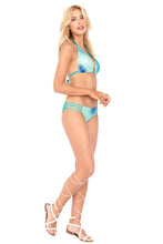 SIETE MARES - Triangle Halter Top & Braided Side Full Bottom • Multicolor