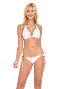 BUENA ONDA - Triangle Halter Top & Wavey Ruched Back Full Tie Side Bottom • White (874072539180)