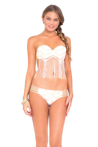 BUENA ONDA - Fringe Underwire Push Up Bandeau Top & Braided Side Full Bottom • White (874073423916)