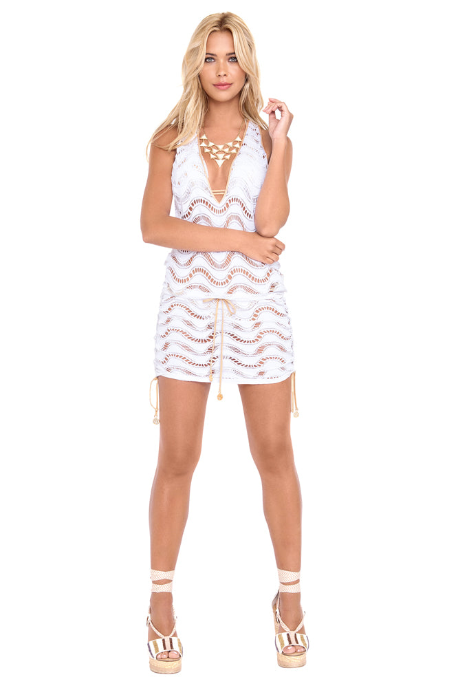 BUENA ONDA - T Back Mini Dress • White