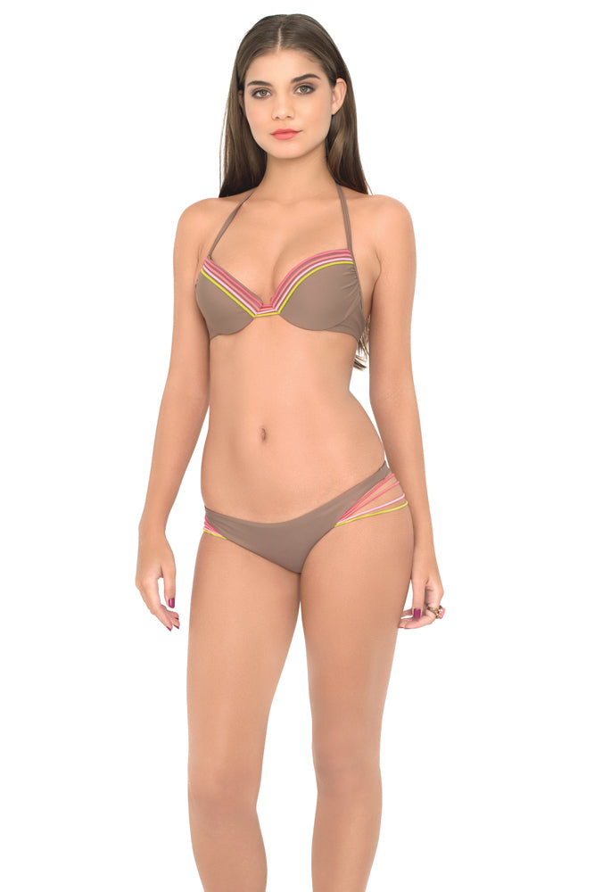 UNSTOPPABLE - Seamless Plunge Underwire Push Up Top & Buns Out Bottom • Sandy Toes