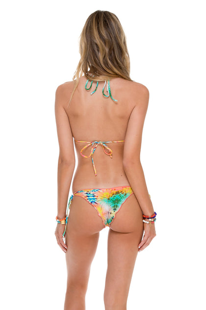 SOL MULTICOLOR - Wavey Triangle Top & Wavey Ruched Back Brazilian Tie Side Bottom • Multicolor