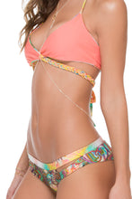 SOL MULTICOLOR - Cross Over Halter Top & Cut Out Reversible Cheeky Bottom • Multicolor