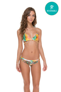 SOL MULTICOLOR - Cross Over Halter Top & Cut Out Reversible Cheeky Bottom • Multicolor (874472407084)