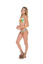 SOL MULTICOLOR - Molded Push Up Bandeau Halter Top & Full Ruched Back Bottom • Multicolor