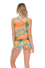 SOL MULTICOLOR - Crossed Multi Strings Halter Romper • Multicolor