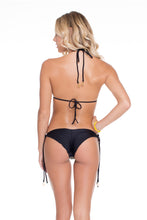DESERT BABE - Triangle Top & Seamless Brazilian Ruched Back Tie Side • Black