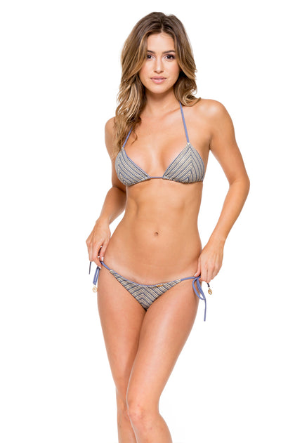 DESERT BABE - Triangle Top & Seamless Brazilian Ruched Back Tie Side • Blue Moon