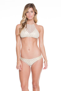 DESERT BABE - High Neck Illusion Halter Top & Tab Sides Full Bottom • White