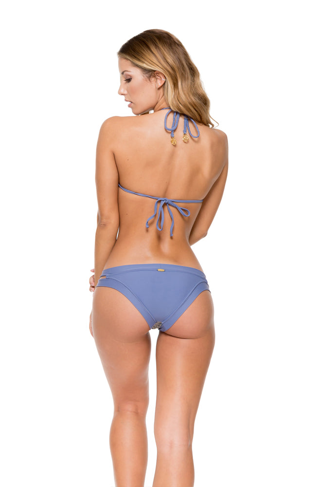 DESERT BABE - High Neck Illusion Halter Top & Banded Moderate Bottom • Blue Moon