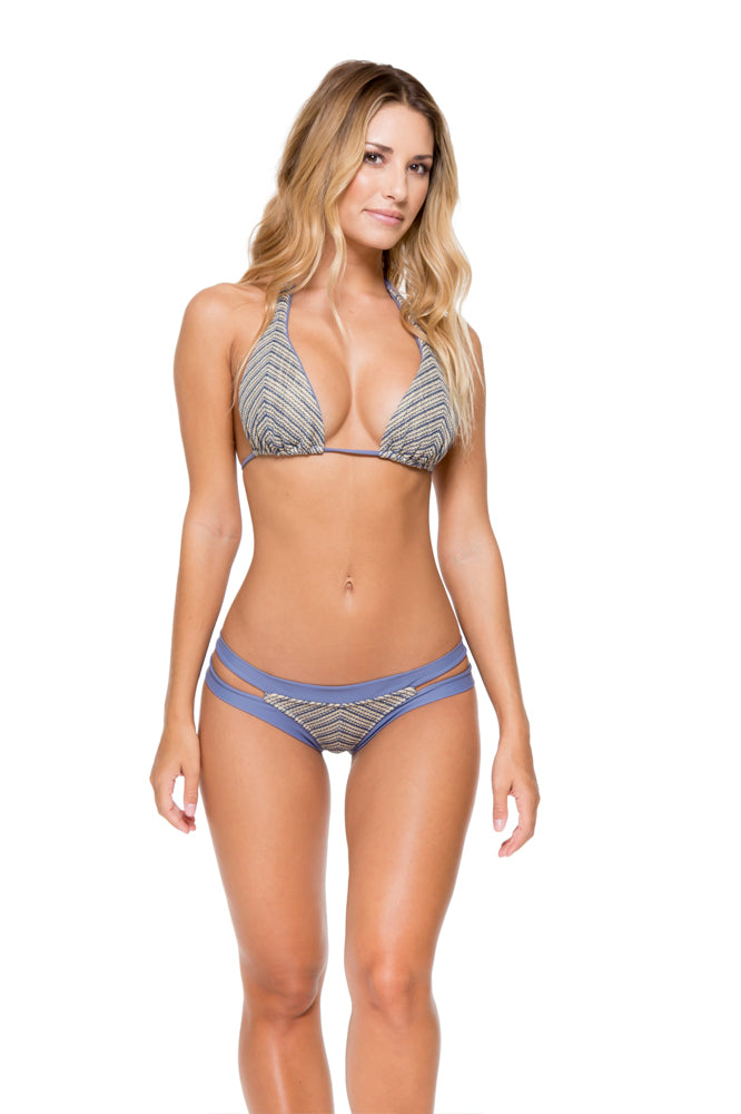 DESERT BABE - Halter Top & Banded Moderate Bottom • Blue Moon