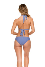 DESERT BABE - Triangle Halter Top & Tab Sides Full Bottom • Blue Moon