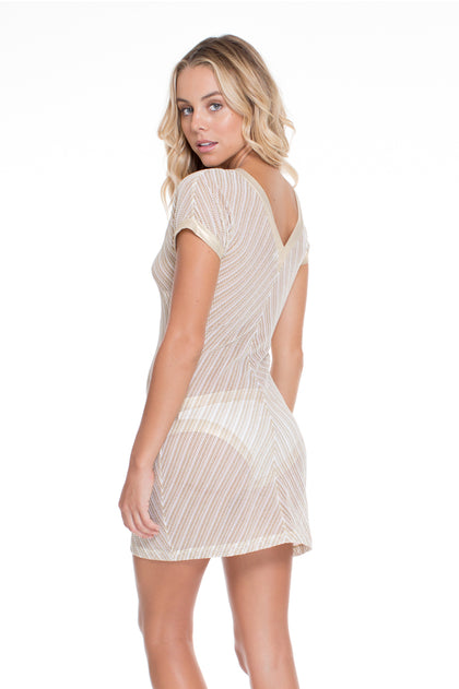 DESERT BABE - Vneck Bodycon Dress • White