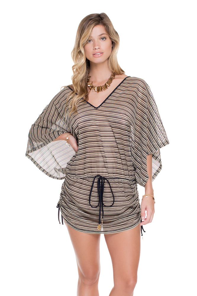 DESERT BABE - Cabana V Neck Dress • Black