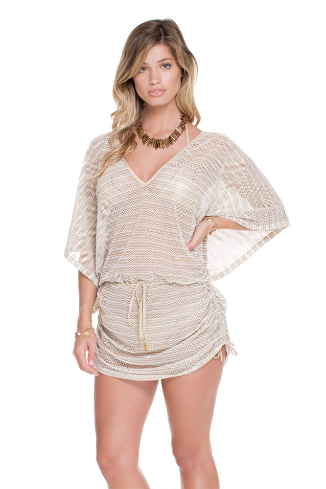 DESERT BABE - Cabana V Neck Dress • White