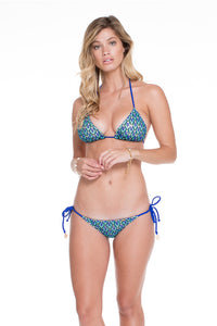 BLUE KISS - Triangle Top & Wavey Ruched Back Brazilian Tie Side Bottom • Electric Blue