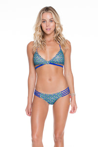 BLUE KISS - Cross Over Halter Top & Braided Lo Rise Hipster Bottom • Electric Blue