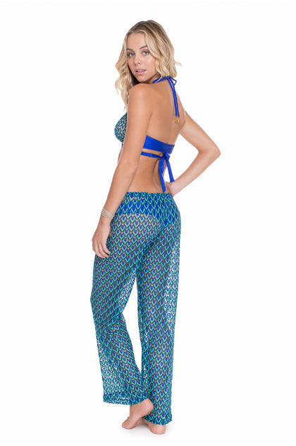 BLUE KISS - Cross Over Halter Top & Beach Pant • Electric Blue