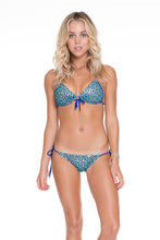 BLUE KISS - Molded Push Up Bandeau Halter Top & Wavey Ruched Back Full Tie Side Bottom • Electric Blue
