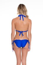BLUE KISS - Triangle Halter Top & Wavey Ruched Back Full Tie Side Bottom • Electric Blue