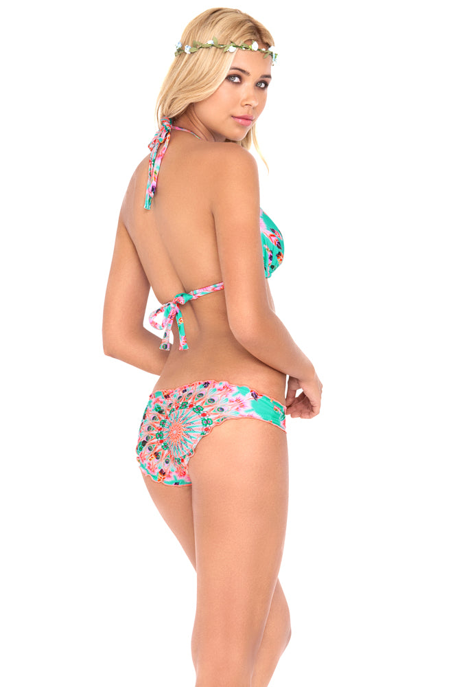 DREAM CATCHER - Triangle Halter Top & Full Ruched Back Bottom • Multicolor