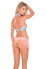 DREAM CATCHER - Weave Sporty Bra Top & Weave Fringed Skimpy Bottom • Pink Sunsets