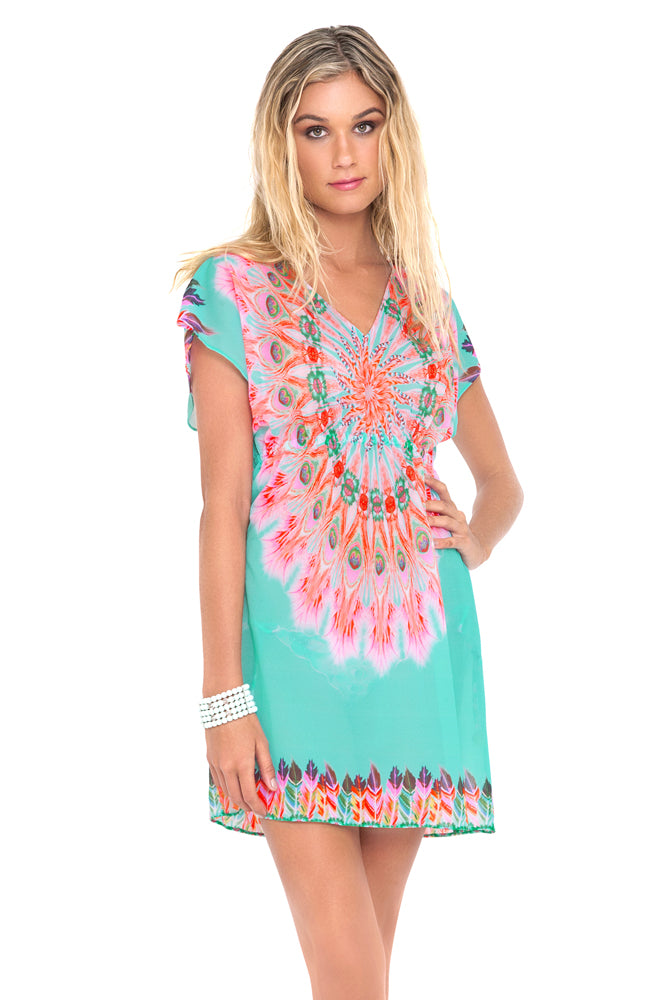 DREAM CATCHER - Cap Sleeve Short Caftan • Multicolor