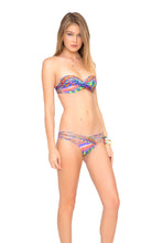 FREE LOVE - Underwire Push Up Bandeau Top & Strappy Full Ruched Back Bottom • Multicolor