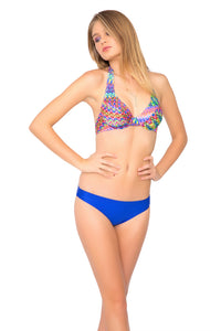 FREE LOVE - Underwire Halter Top & Reversible Seamless Full Bottom • Electric Blue