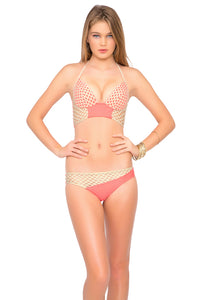 STARFISH WISHES - Laced Up Underwire Corset Top & Gold Net Divided Moderate Bottom • Gold Fire Coral