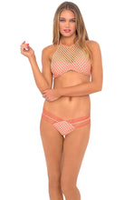 STARFISH WISHES - Gold Net Illusion High Halter Top & Strappy Brazilian Ruched Back Bottom • Gold Fire Coral