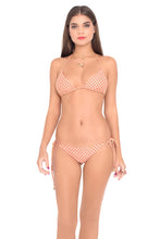 STARFISH WISHES - Triangle Top & Wavey Ruched Back Brazilian Tie Side Bottom • Gold Fire Coral
