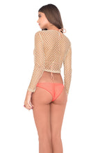 STARFISH WISHES - Long Sleeve Crop Top & Wavey Ruched Back Brazilian Tie Side Bottom • Gold Fire Coral