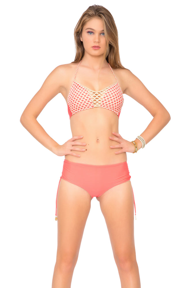 STARFISH WISHES - Criss Cross Sporty Bra & Adjustable Reversible Drawstring High Bottom • Fire Coral
