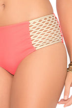 STARFISH WISHES - Criss Cross Sporty Bra & Gold Net Sides High Waist Bottom • Gold Fire Coral