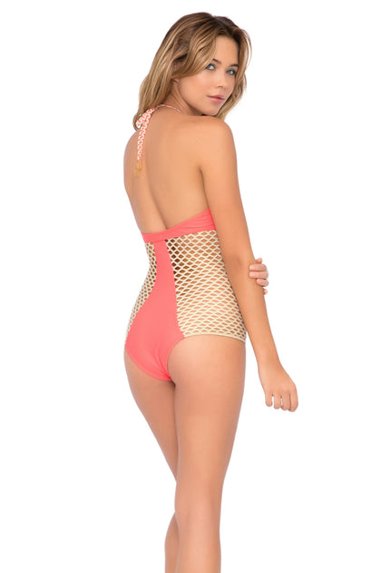 STARFISH WISHES - Gold Net Illusion High Halter One Piece • Gold Fire Coral