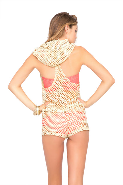STARFISH WISHES - Gold Net Hoodie Romper • Gold