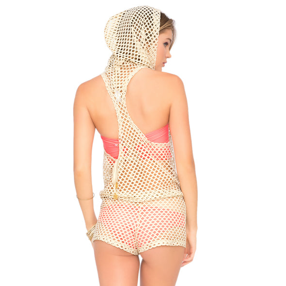 STARFISH WISHES - Gold Net Hoodie Romper