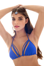 KISS THE WAVE - Strings & Braid Triangle Top & Full Bottom • Electric Blue
