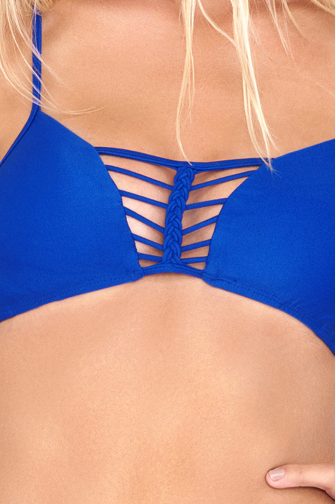 KISS THE WAVE - Criss Cross Sporty Bra & Buns Out Bottom • Electric Blue