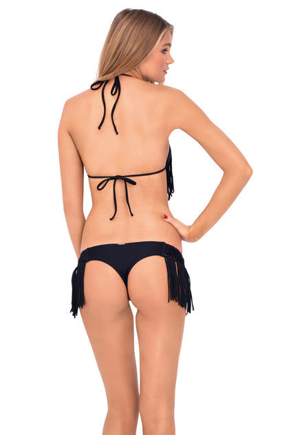 HEART OF A HIPPIE - Weave Fringed Triangle Top & Weave Fringed Skimpy Bottom • Black