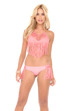 HEART OF A HIPPIE - Weave Fringed Halter Top & Weave Fringed Skimpy Bottom • Pink Sunsets