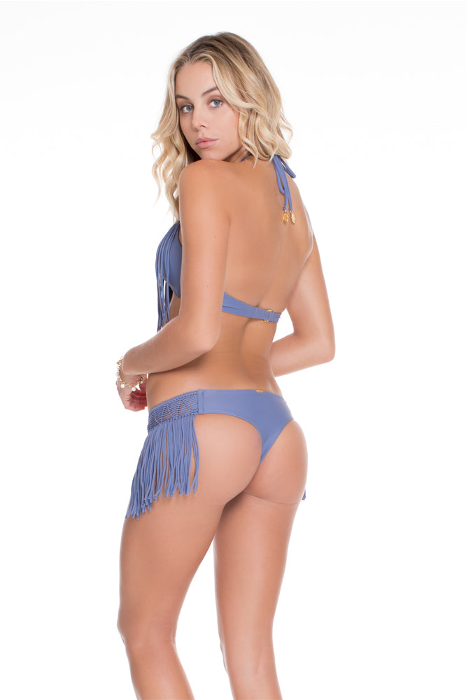 HEART OF A HIPPIE - Weave Fringed Halter Top & Weave Fringed Skimpy Bottom • Blue Moon