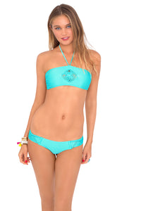 PINEAPPLE FIELDS - Weave Center Bandeau Top & Hot Buns Bottom • Aquamarine
