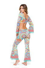 MARIPOSITA CARIBEÑA - Bell Sleeve Crop Top & Boho Pant • Multicolor