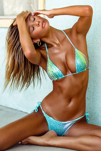 BLING BABE - Triangle Top & Wavey Ruched Back Tie Side Bottom • Aqua