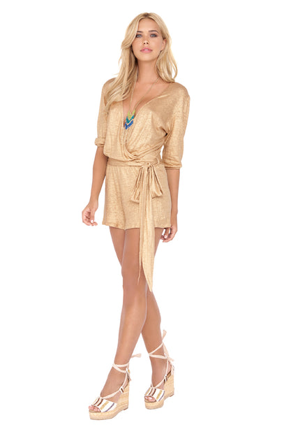 SPIRIT OF A FAIRY - Wrap Front 3/4 Sleeve Romper • Gold